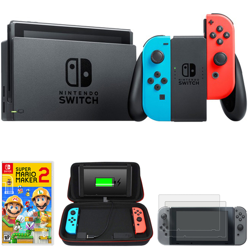 Nintendo Switch 32 GB Console w/ Neon Blue & Red Joy-Con + Game & Charging Case Bundle