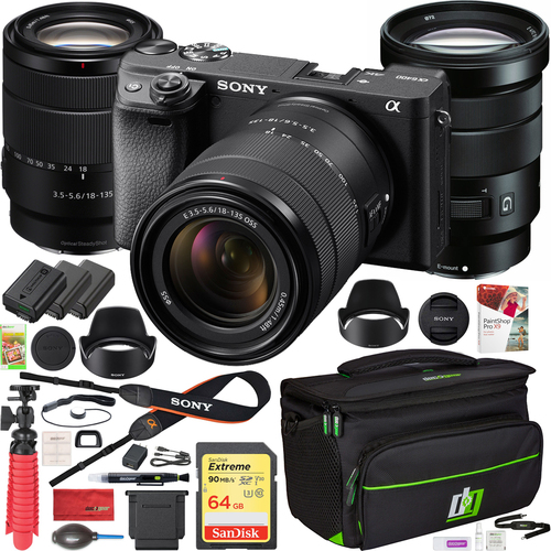 Sony a6400 Mirrorless 4K Camera ILCE-6400M/B 18-135mm + 18-105mm G 2 Lens Kit Bundle