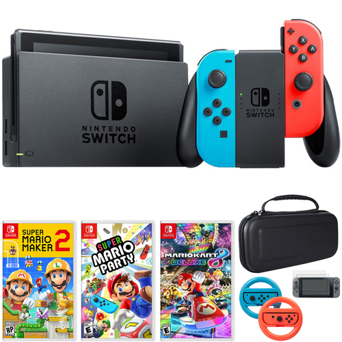 Nintendo Switch 32 GB Console w/ Neon Blue & Red Joy-Con + Game and Accessories Bundle