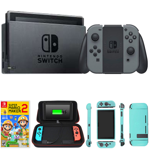 Nintendo Switch 32 GB Console w/ Gray Joy Con + Game and Charging Case Bundle