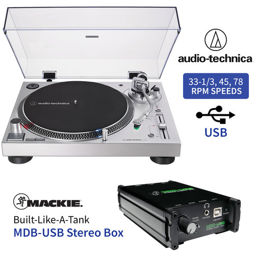 Audio-Technica LP120X-USB Direct-Drive Analog Turntable (Silver) + Mackie MDB-USB Stereo Box