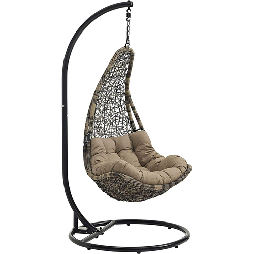 Modway Abate Outdoor Patio Swing Chair With Stand in Black Mocha - Open Box