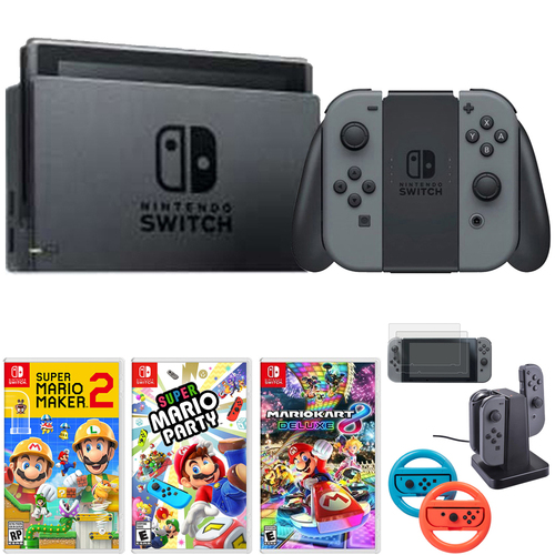 Nintendo Switch 32 GB Console w/ Gray Joy Con + Game and Accessories Bundle