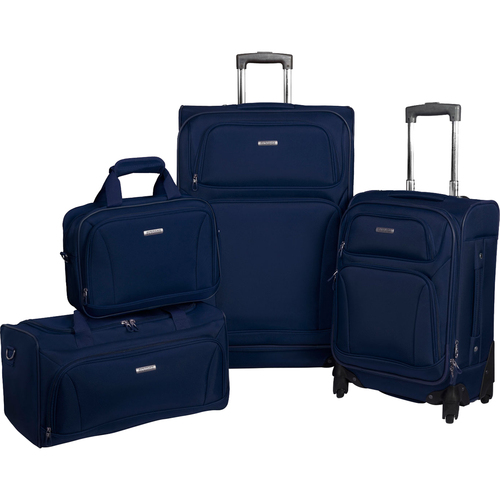 American Tourister Premium 4 Piece Lightweight Luggage  (20 & 28 Spinner + Boarding & Duffel) Navy