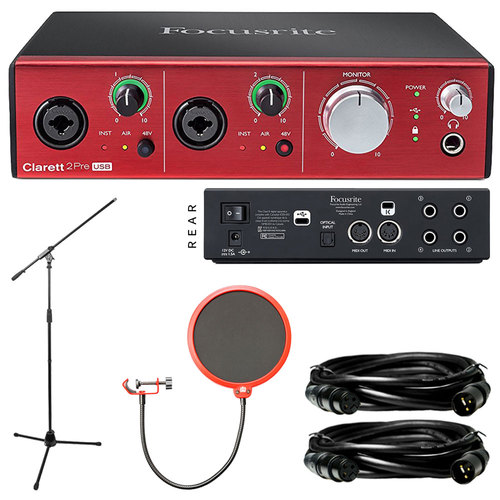 Focusrite Clarett 2Pre USB 10-In/4-Out Audio Interface with Platinum Recording Bundle