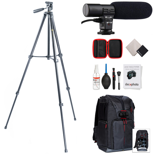 Vanguard VK 203AP 60` Video & Photography Tripod w/ Shotgun Microphone Bundle