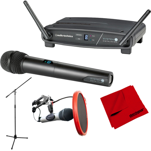 Audio-Technica System 10 Wireless Handheld Microphone System + Stand Bundle