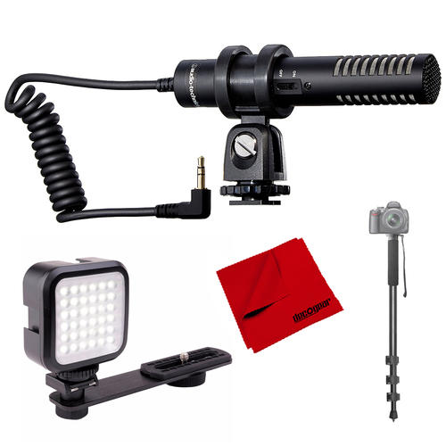 Audio-Technica Stereo Condenser Shotgun Microphone for camcorders + Light Bundle