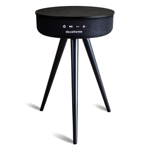 Bluetooth Speaker Table with USB and Wireless Charging - Black