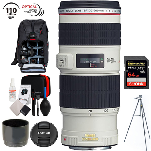 Canon EF 70-200mm f/4L IS USM + 64GB Memory Card & 60` Tripod Bundle