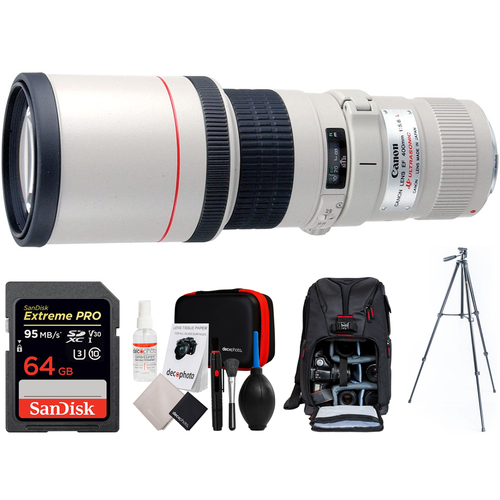 Canon EF 400mm 5.6 L USM Lens + 64GB Memory Card & 60` Tripod Bundle