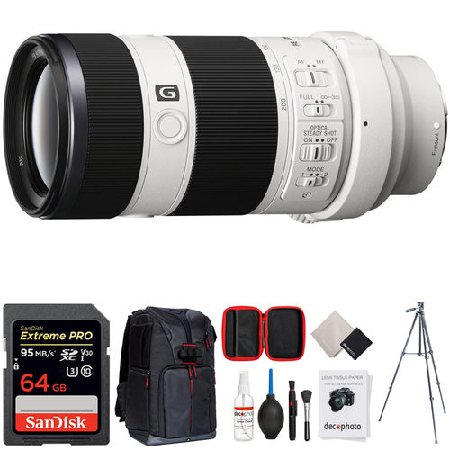 Sony 70-200mm Full Frame F4 G OIS Interchangeable E-Mount Lens w/ 64GB Bundle