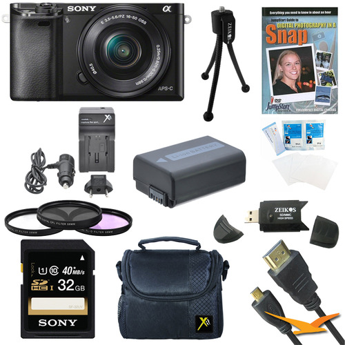 Sony Alpha a6000 Camera Bundle with 16-50mm Lens + 8-Piece 32GB Accessory Kit