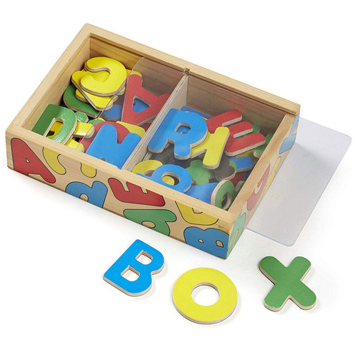 Melissa and Doug 52 Wooden Alphabet Magnets in a Box, Developmental Toys
