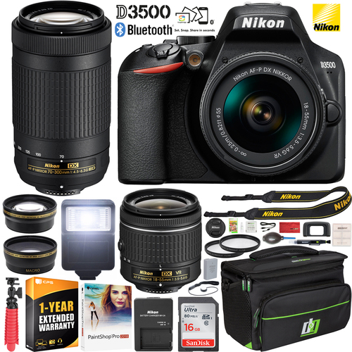 Nikon D3500 DSLR Camera 18-55 VR & 70-300 2 Lens + Ext. Warranty Case Accessory Bundle