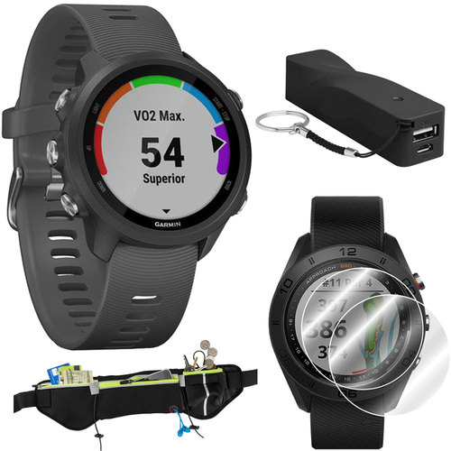 Garmin Forerunner 245 GPS Sport Watch (Slate) with Portable Power Bank Bundle