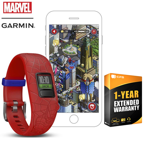 Garmin Activity Tracker for Kids Red Adjustable Spiderman Band+Extended Warranty