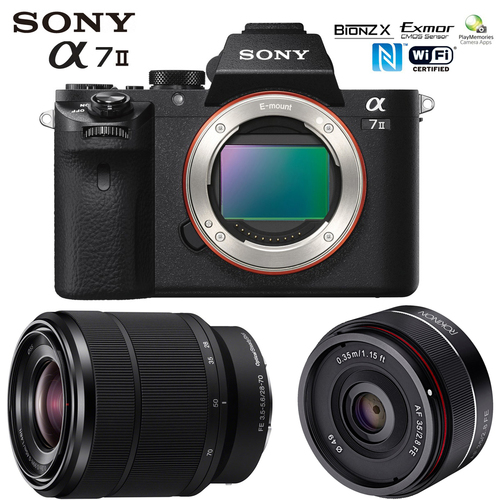 Sony a7II Mirrorless Camera with 2 Lens Kit 28-70mm F3.5-5.6 OSS + Rokinon 35mm f/2.8