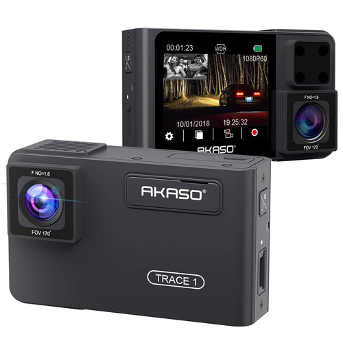 Akaso Trace1 Dual Dash Cam Front 1080p60, Dual 1080p30 with Infrared Night Vision
