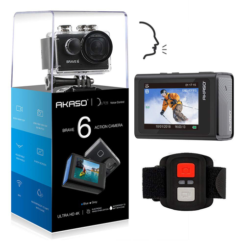 Akaso Brave 6 4K 20MP WiFi Action Camera Voice Control EIS 30m Waterproof