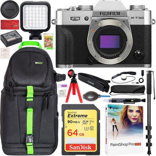 Fujifilm X-T30 Mirrorless 4K WiFi Camera Body Silver Backpack Bundle Travel Accessory Kit