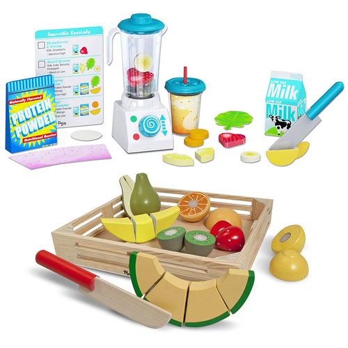 Melissa and Doug Smoothie Maker Blender Play Set with Cutting Fruit Set
