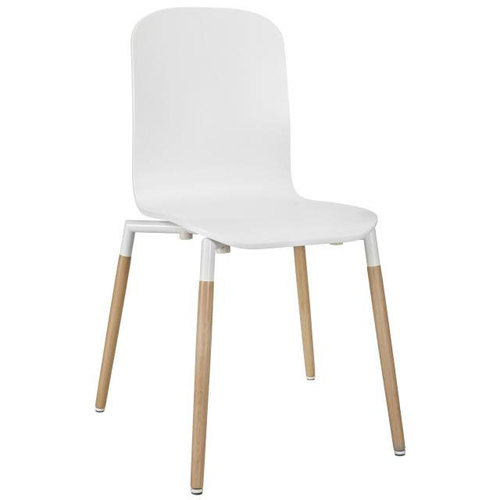 Modway Stack Dining Wood Side Chair in White / Stack