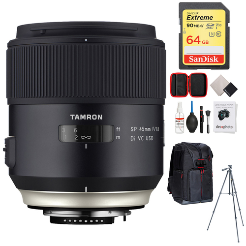 Tamron SP 45mm f/1.8 Di VC USD Lens for Canon EOS Mount+64GB Accessories Bundle