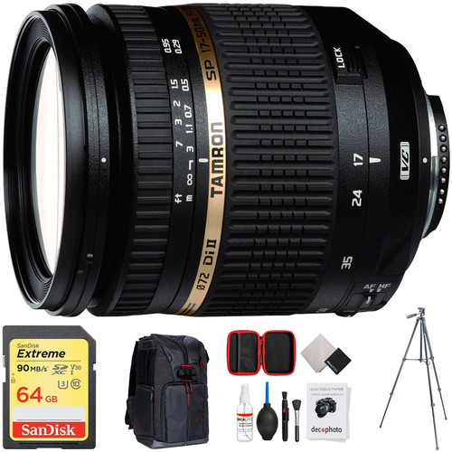 Tamron SP AF 17-50mm F/2 8 XR Di II VC LD Lens + 64GB Accessories Bundle