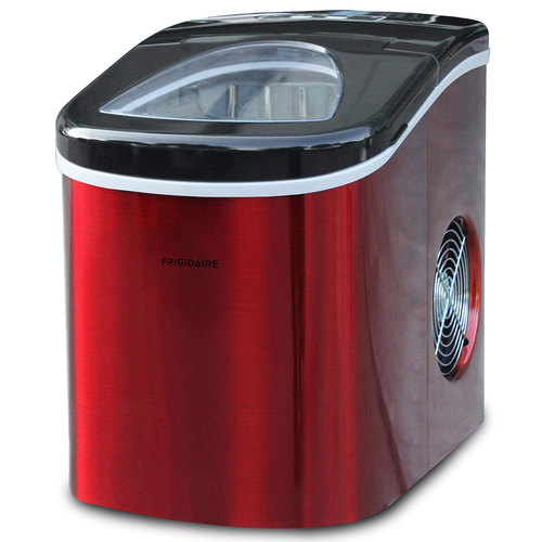 Frigidaire EFIC117-SSRED-COM Stainless Steel Ice Maker, Medium, Red