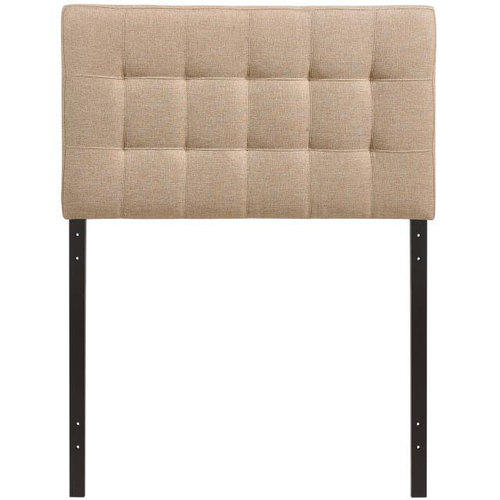 Modway Lily Twin Upholstered Fabric Headboard in Beige / Lily