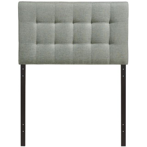 Modway Lily Twin Upholstered Fabric Headboard in Gray / Lily
