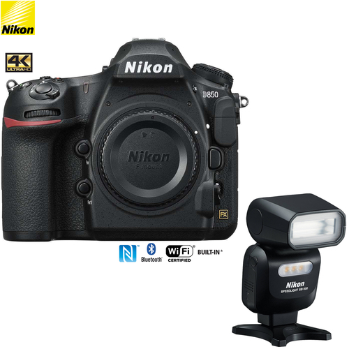 Nikon D850 45.7MP Full-Frame FX-Format DSLR Camera (Renewed) + SB500 Speedlight Flash