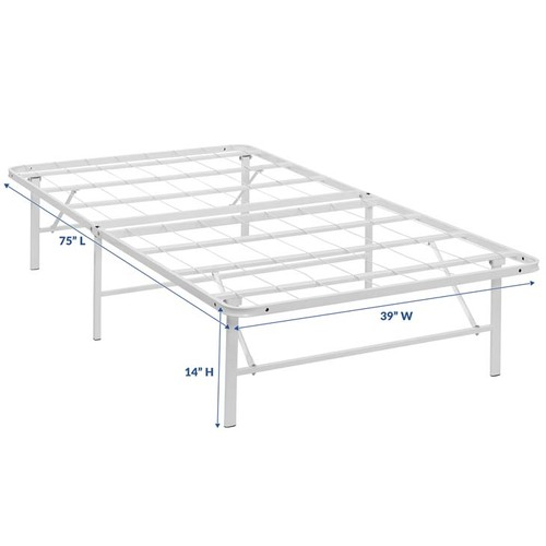 Modway Horizon Twin Stainless Steel Bed Frame in White MOD-5427-WHI