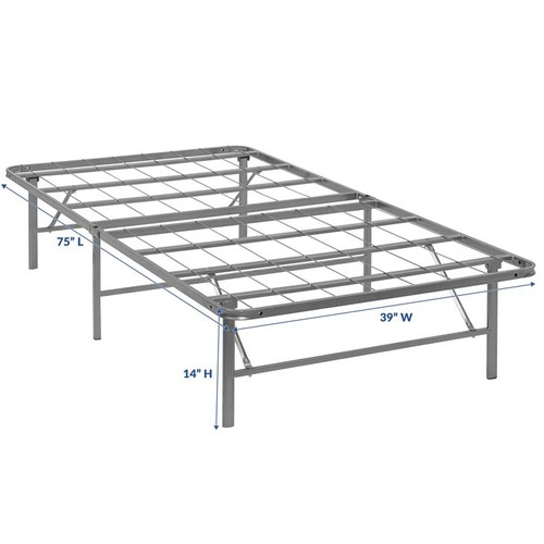 Modway Horizon Twin Stainless Steel Bed Frame in Silver MOD-5427-SLV