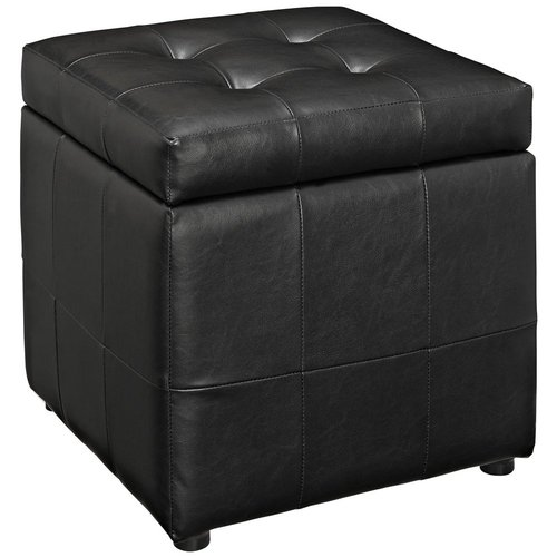 Modway Volt Storage Upholstered Vinyl Ottoman in Black