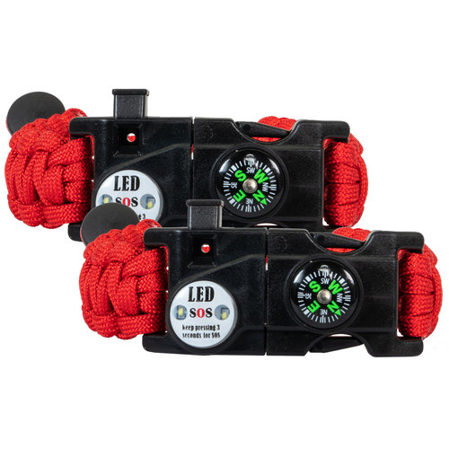 2-Pack Tactical Emergency Paracord Bracelet w/ SOS LED Whistle Knife Multi Tool