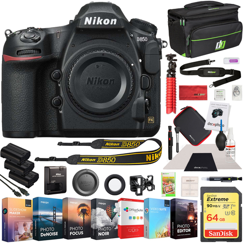 Nikon D850 45.7MP Full-Frame FX-Format DSLR Camera (Renewed) +64GB Battery Editing Kit