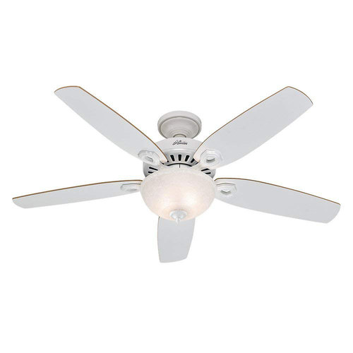 Hunter Fan Company 52` Builder 5-Blade Single Light Ceiling Fan White