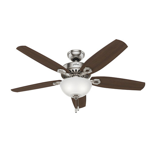 Hunter Fan Company Builder Deluxe 52` Indoor Brushed Nickel Ceiling Fan w/ Light Kit
