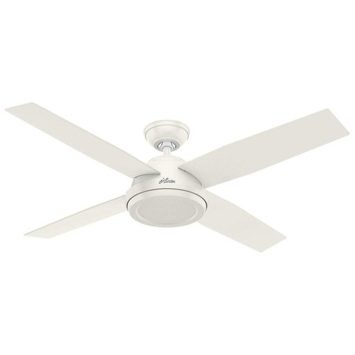 Hunter Fan Company 59250 Contemporary Dempsey Fresh White Ceiling Fan With Remote, 52`