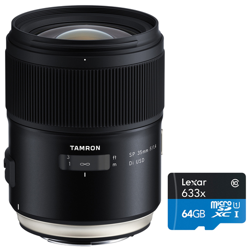 Tamron SP 35mm f/1.4 Di USD Lens for Nikon F DSLR Model F045 + 64GB Memory Card