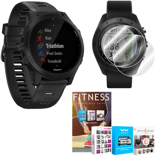 Garmin Forerunner 945 GPS Sport Watch (Black) with Home Fitness Suite Bundle