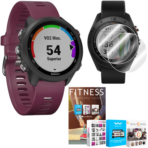 Garmin Forerunner 245 GPS Sport Watch (Berry) with Home Fitness Suite Bundle
