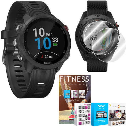 Garmin Forerunner 245 GPS Music Sport Watch (Black) with Home Fitness Suite Bundle