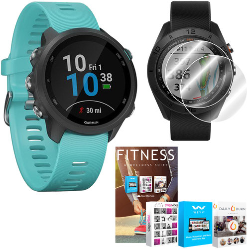 Garmin Forerunner 245 GPS Music Sport Watch (Aqua) with Home Fitness Suite Bundle