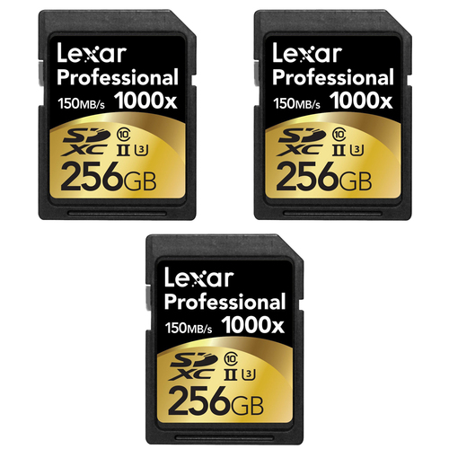Lexar 256GB Professional 1000x SDHC/SDXC Class 10 UHS-II Memory Card (3-Pack)