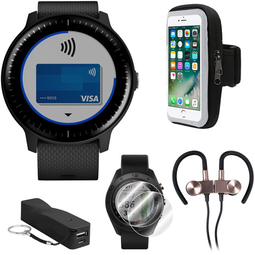 Garmin Vivoactive 3 Music GPS Smartwatch w/ Deco Gear Runner Bundle - Black+Silver