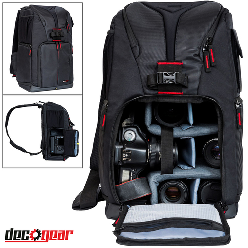 Deco Gear Photo Camera Sling Backpack for Cameras & Accessories Fits 15-inch Laptops