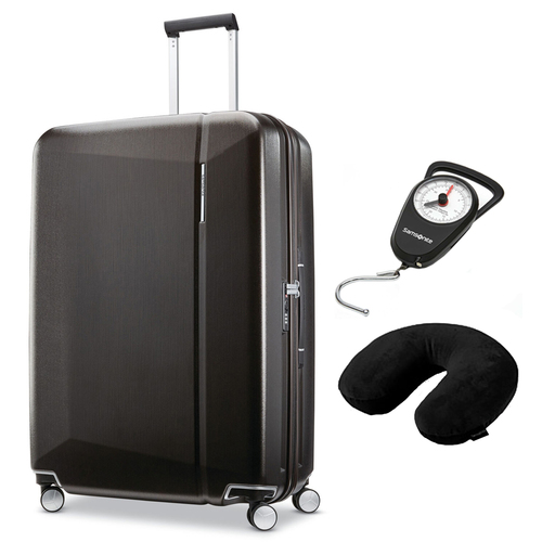 Samsonite Etude Hardside Luggage with 30` Spinner Wheels Black + Scale & Pillow